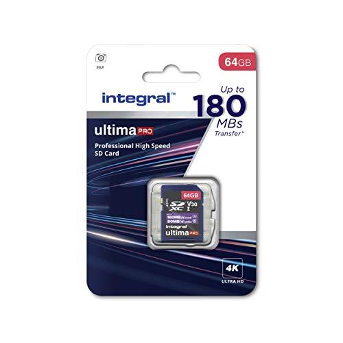 Integral Memory 64 GB SDxC Premium Super High Speed bis zu 180 MB/s Lesegeschwindigkeit, 80 MB/s Schreiben, Klasse 10 V30 UHS-I U3, von Integral Memory