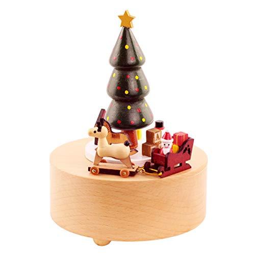 ruist-eu Caja de música de Madera Círculo Circular de 360 ° Ligero Durable Santa Claus Árbol de Navidad Tren Regalo de cumpleaños
