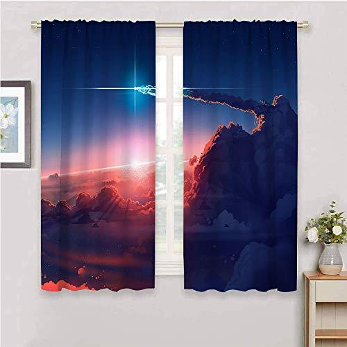 Zmcongz Cortinas opacas premium de arte digital nubes sol sol sol estrellas cielo ancho 72 x largo 72 pulgadas impresión decoración del hogar cortinas puerta corredera barra bolsillo curtian