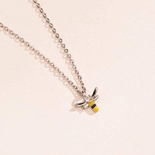Yiffshunl Necklace Women Three-Dimensional Bee Silver Color Pendant Necklace for Women Birthday Jewelry for Women Girls Necklace Gift