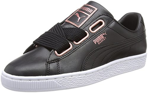 Puma Basket Heart Leather WN's, Damen Sneaker, Schwarz (PUMA Black-Rose Gold 02), 39 EU (6 UK)