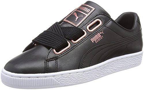 Puma Damen Basket Heart Leather Sneaker, Schwarz Black-Rose Gold, 38 EU