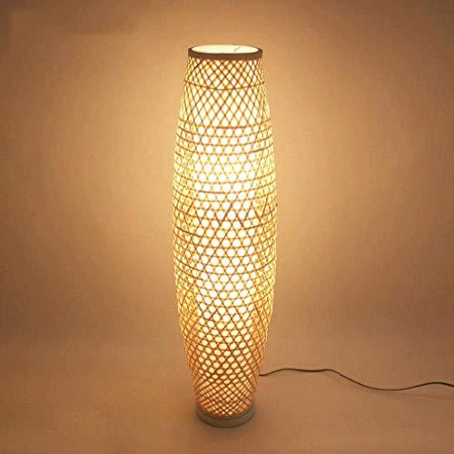Lámpara De Suelo De Bambú De Mimbre Rattan Jarrón Sombra Luz De...