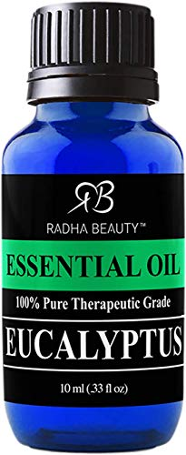 Radha Beauty Eucalyptus Essential Oil 10ml - 100% Pure & Therapeutic Grade, Steam Distilled for Aromatherapy, Relaxation, Shower, Sauna, Bath, Steam Room, Pain Relief, Congestion, Stress Relief