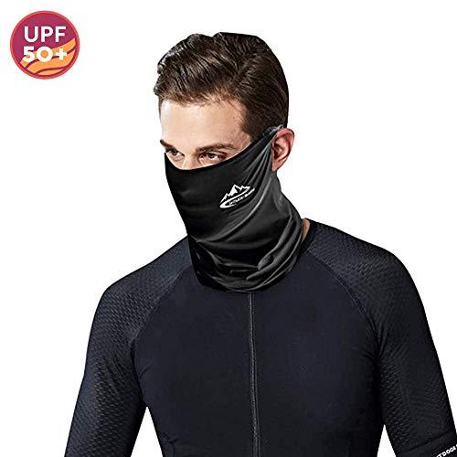 Pasamontañas Moto Verano Mascarilla Bandana Neck Gaiters Protector Facial Unisex para Hombres, Mujeres (Negro-1)