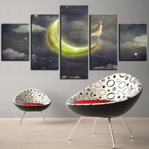 GLNB Decoracion Salon 16 Piezas de Arte Marco,Moderno HD sobre lienzos Dibujos Animados de Luna y niña impresión Cuadro Usado para Hogar Oficina Regalo, Tamaño Total (H-80cmxM/B-150cm)