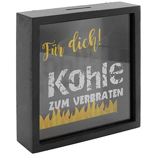 MIK Funshopping Spardose Sparkästchen mit Holzrahmen und Sichtfenster (Kohle zum Verbraten - mit schwarzem Rahmen 17 x 17 x 4,5 cm)