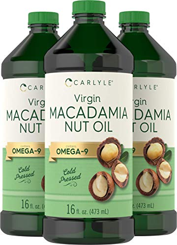 Macadamia Nut Oil   3 x 16 oz Bottles   Premium Cold Pressed   100% Pure Virgin   Food Grade   Vegetarian, Non-GMO, Gluten Free   Safe for Cooking, Great for Hair and Skin   by Carlyle