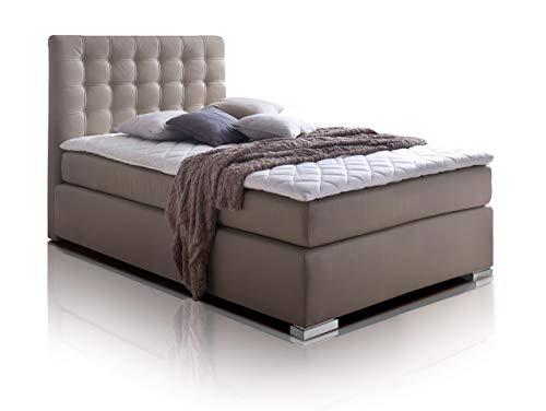 moebel-eins Isabell Plus Boxspringbett Hotelbett Bett amerikanisches Bett 7-Zonen-Multi-Tonnentaschenfederkern-Matratze, 90 x 200 cm, Muddy, Härtegrad 3
