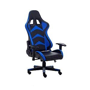 RAC TLV-A1010-BLUE Silla Gaming PC Videojuegos Racing Oficina Escritorio Sillon Gamer Despacho, Negro - Azul
