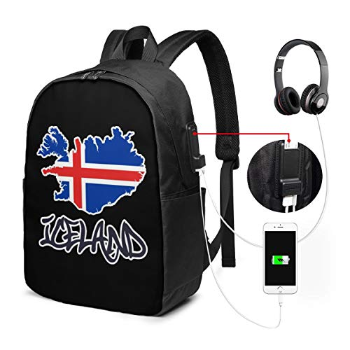 Laptop-Rucksack, Business Reiserucksack für Männer und Frauen mit USB-Ladeanschluss, College Schule, Büchertasche, Computer passend für 17-Zoll-Laptops, Coole Island-Flagge