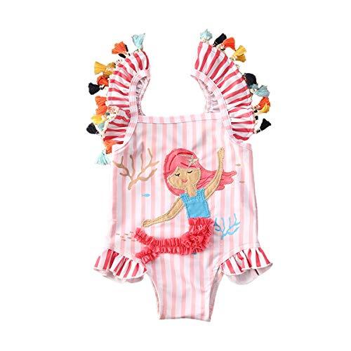 Bañador entero de baño para niña recién nacida de verano bikini mantel a rayas simpático Sirenita bebé niña una pieza Swimsuit Bodysuit playa piscina (0 – 7 años) Rosa 3-4 Años