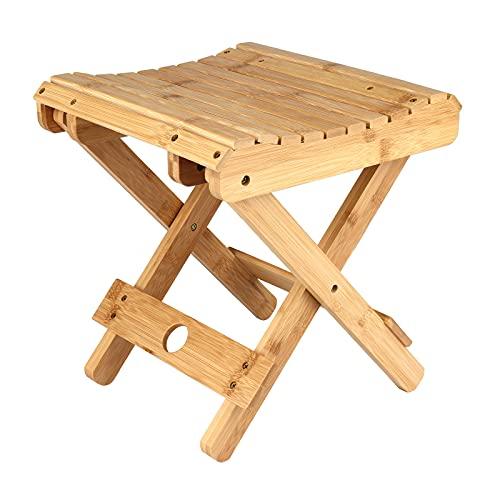 TETHYSUN Taburete plegable de bambú de 10.23 pulgadas, silla de ducha portátil...