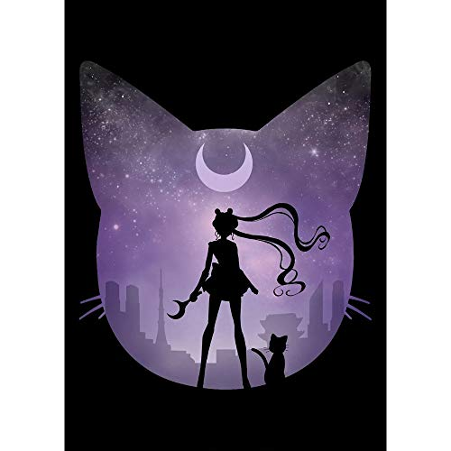 PENGDA Full Round Drill Cross Stitch Sailor Moon Violet Cat Home Decor by Number Kit Diamond Picture Embroidery Painting Gift Handmade Wall Sticker