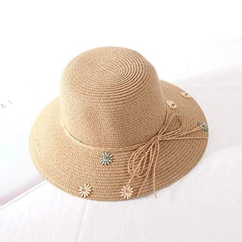 WYRKYP Sombrero de Sol Margarita Flores Sombrero de Paja Visor de Hierba Viaje Verano Protector Solar Sombrero Sombrero Sombrero Marea Hembra,K