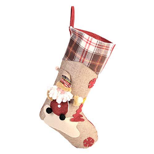 moinkerin Weihnachtsstrumpf Weihnachtsdeko, Hängende Strümpfe Weihnachten Socken Deko, Nikolausstiefel zum Befüllen und Aufhängen Geschenktasche Zucker Beutel Weihnachtsbaum