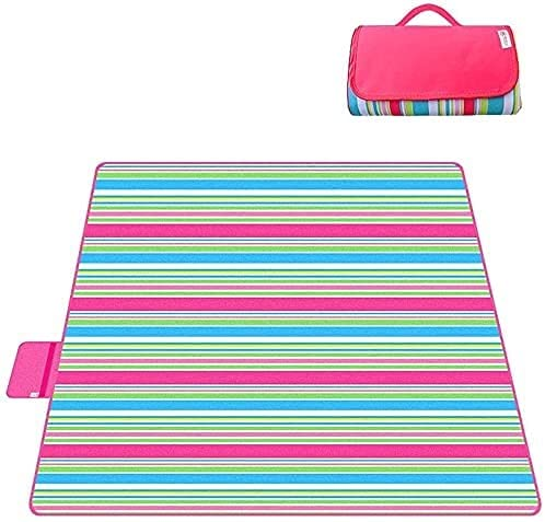 ZRDSZWZ Manta de picnic fiable para exteriores, antimarea, alfombrilla de playa, morada, 150 x 200 cm, manta de picnic plegable (color: rosa rojo) (color: rosa rojo)