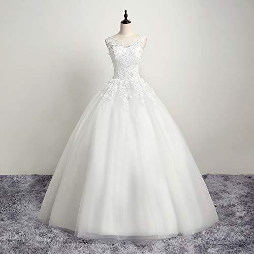 NgMik Elegante Hochzeits-Kleid-Spitze A Line Brautkleid Elegantes Kleid Hochzeitskleid for Hochzeit Hochzeit Kittel (Farbe : White, Size : 16)