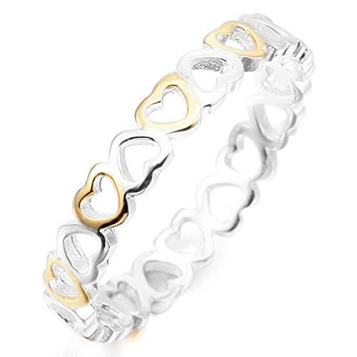 INBLUE 925 Anillos de corazón de Plata esterlina para Mujeres Niñas Amantes Hermanas Compromiso Promesa de Boda Joyas para el Día de la Madre Amistad del Día de San Valentín (Astilla y Color Dorado)