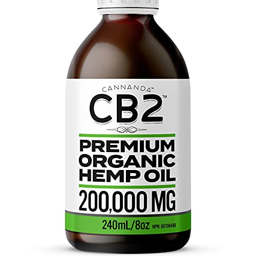 CB2 ORGANIC HEMP OIL - 200,000MG - Strongest Formula for Pain, Anxiety, & Stress / Enhances Sleep & Rejuvenates - Extra Large Bottle 240mL/8oz Lasts Longer + 1800mg CB2 Extract for Superior Potency / Organic / Non-GMO / Made in CANADA