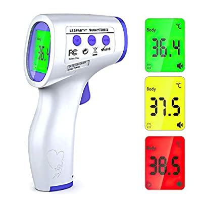 Thermometer for Adults, Digital Infrared Forehead Thermometer for Baby, Digital No Touch Thermometer with Fever Alarm, LCD Display Accurate and Fast Reading (Battery Included)