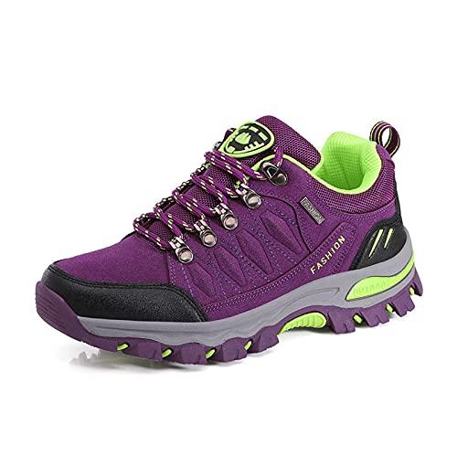 Calzado Trekking & Senderismo para Mujer, Calzado para Caminar Al Aire Libre para Todas Las Estaciones, Calzado Deportivo De Caña Baja, Escalada, Viajes, Pesca Camping (Purple,39 (EU 39))