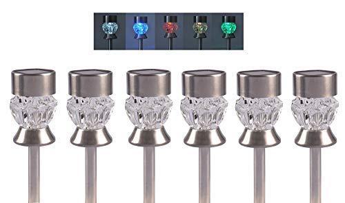 BURI Solarleuchten Diamant Farbwechsler 6er-Set Solarlampen Gartenlampe Solarleuchte