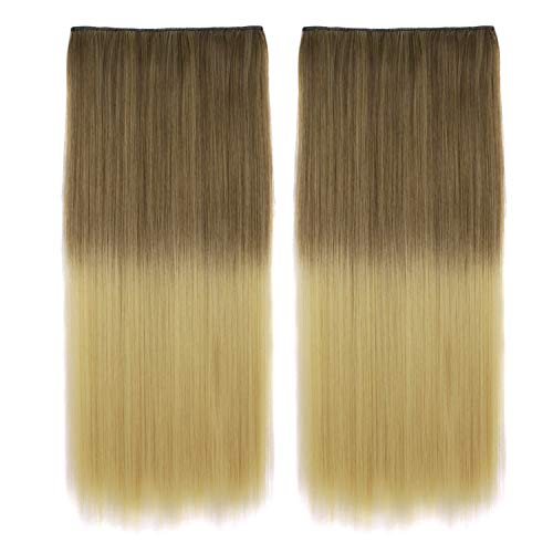 MapofBeauty 24 Inch/60cm 2 Pack Beautiful Long Straight Clip in Hair Extension Hairpiece (Off Black/Dark Blonde)