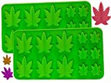 Set of 2 X Silicone Marijuana Lollipop Gummy Brownies Had Candy Cannabis Weed Edible Leaf Mold Ice Cube Chocolate Soap Candle Tray Party Maker (GREEN)