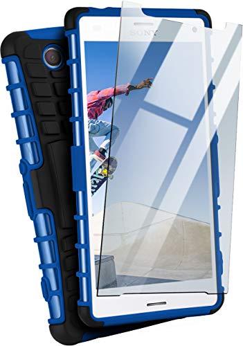 MoEx® Panzer-Schutz Set - Tank Case + Schutzglas passend für Sony Xperia Z3 Compact | Gehärtetes Glas + Extrem robuste Double-Layer Hülle, Blau Schwarz