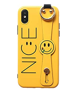 UnnFiko Hand Strap Holder Case Compatible with iPhone 7 Plus/iPhone 8 Plus Cute Cartoon Smiley Face Design TPU Protective Stand Case Covers  Smiley Face Yellow iPhone 7 Plus / 8 Plus