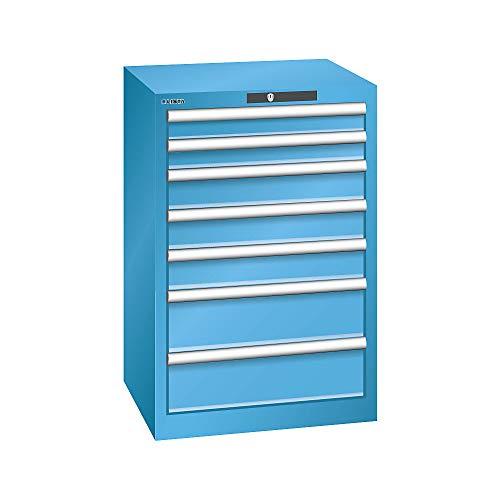 LISTA Schubladenschrank, Traglast/Schubl. 75 kg, 7 Schubladen: 2x75,3x100,2x150, Zylinderschloss, BxTxH 564x 572x850 mm, RAL 5012 lichtblau