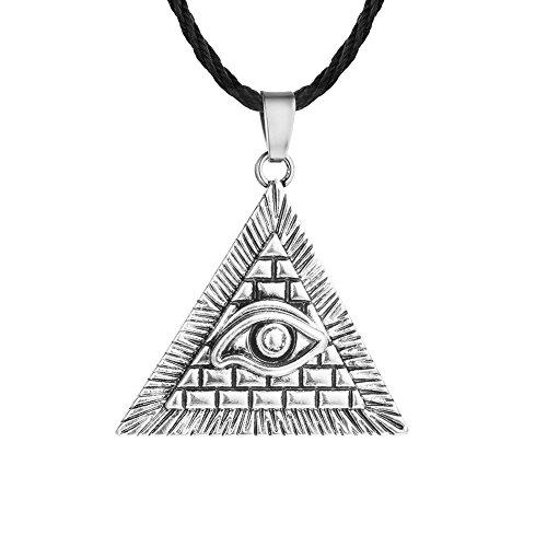 Gudeke Vintage Pyramide Dreieck Auge Anhänger allsehende Auge Halskette (Silber)