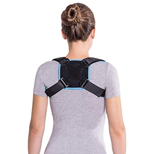 Clavicle Support Brace after fracture of the collarbone Back Straight holder Back stabilizer Back correction Straight-line posture correction Large Black- blue
