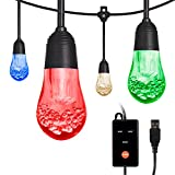 Enbrighten Acrylic Bulbs, USB-Powered Café String Lights, 24ft, 24, LED, Indoor or Outdoor, Camping, Tailgate, Dorm Room, 48365