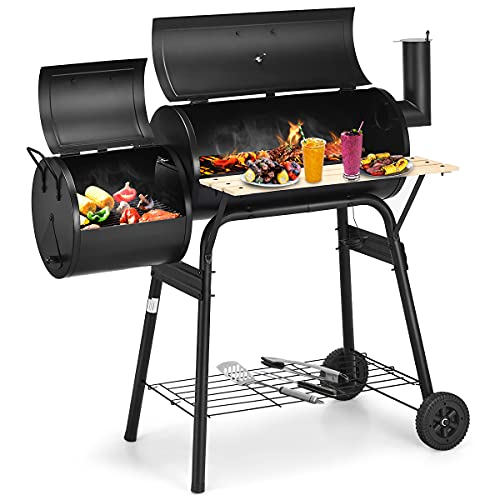 Giantex BBQ Charcoal Grill with Offset Smoker, Thermometer and Adjustable Damper, Meat Cooker Smoker...