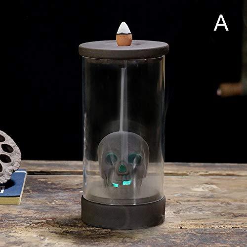 Dheera Queimadores de incenso com luz LED eterna, caveira, abóbora, incenso, queimadores de cerâmica para refluxo doméstico, 15 x 8 cm