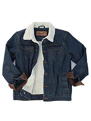 Wrangler Authentics Boys' Big Western Lined Denim Jacket, Rustic Blue/Sherpa, XL
