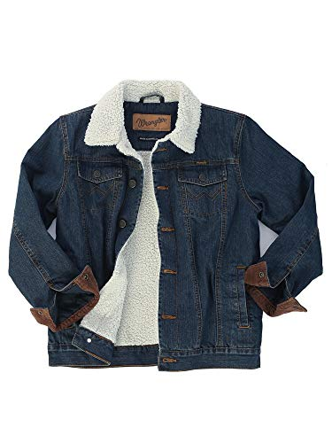 Wrangler Authentics Boys' Big Western Lined Denim Jacket, Rustic Blue/Sherpa, XXL