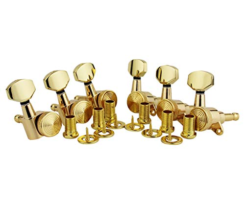 Guyker 6Pcs Guitar Locking Tuners (6 Right Hand) – 1:20 Lock String Sealed Tuning Key Pegs Machine Heads Set Replacement for ST TL SG LP Style Electric or Acoustic Guitars – Golden