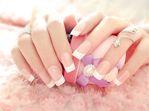 Puntas de uñas postizas Jovono estilo francés (tamaño mediano), color rosa