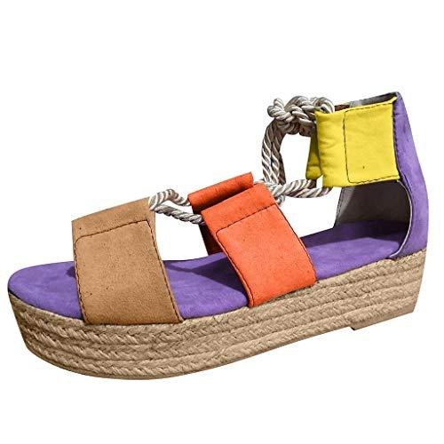Geilisungren Sandalen Damen Hanfseil Plateau Sandaletten Sommerschuhe Frauen Mode Kreuzgurte Party Hochzeit Abendschuhe Einfarbige/Bunt Peep Toe Platform Sandals