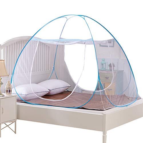 Moskitonetz Doppelbett, Reise Mückennetz, Anti Mosquito, doppelte Tür, Moskitonetz pop up für Doppelbett (180 * 200 * 150 cm) (Blau)
