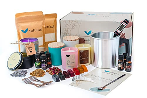 Softowl Soy Candle Making Kit - Full Set - Soy Wax, Big 8oz Jars & Tins, 7 Pleasant Scents, Color Dyes & More - Perfect as Home Decorations - DIY Starter Scented Candles Making Kit - Vegan Friendly
