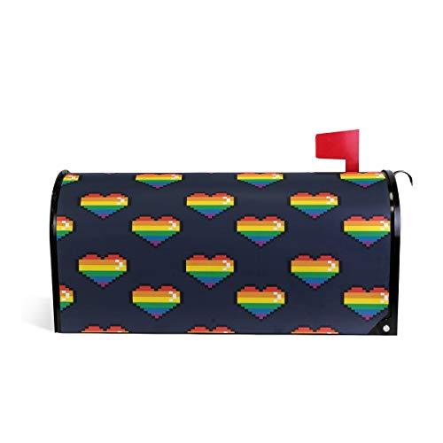 Wamika Briefkasten-Abdeckung, wetterfest, magnetisch, verblasst Nicht, wetterfest, Regenbogen-Schwarz, 64,7 x 52,8 cm
