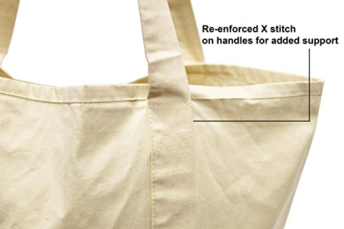 """Earthwise Reusable Grocery Bags X-Large 100% Cotton Canvas Shopping Craft Beach Cloth Tote with Handles Biodegradable, Foldable and Eco Friendly Washable 20"""" X 16"""" (3 Pack)"""