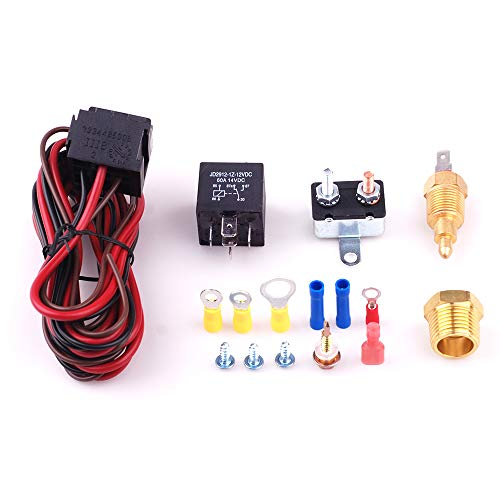 Fan Thermostat Temp Sensor Temperature Switch Engine Cooling Sensor Relay Kit 185 to 200 Degree