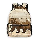 Mochila de viaje para computadora portátil,Black Bear Nature Brown Forest Vintage Rústico Tablero...