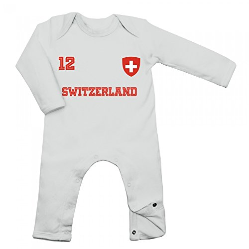 Shirt Happenz Schweiz Weltmeisterschaft 2018#24 Babybody Fan Trikot Fußball Weltmeisterschaft Nationalmannschaft Langarm Langärmliger Strampler, Farbe:Weiß (White BZ13);Größe:6-12 Monate