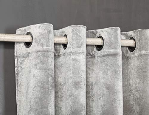 PimpamTex – Cortina Opaca Térmica Aislante Tacto Terciopelo, con 8 Ojales para Salón, Dormitorio y Habitación, Variedad de Colores, Cortinas Opacas Modelo Terciopelo – (140 x 280 cm, Gris Perla)